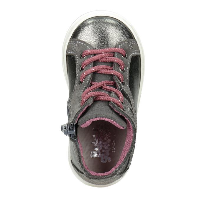 Kožená kotníčková obuv dětská bubblegummers, šedá, 123-2602 - 15