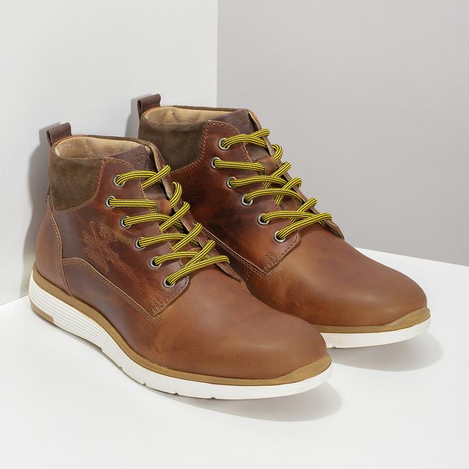 Kožená pánská kotníčková obuv bata, hnědá, 846-3645 - 26