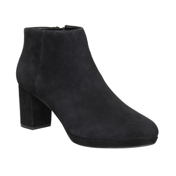 Kožená kotníčková obuv na podpatku clarks, černá, 713-6035 - 13