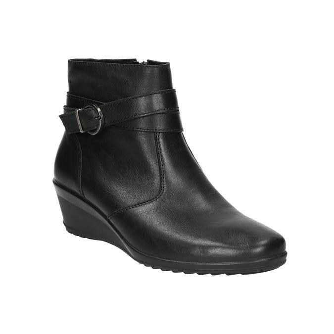 Kožená kotníčková obuv s přezkou comfit, černá, 696-4622 - 13