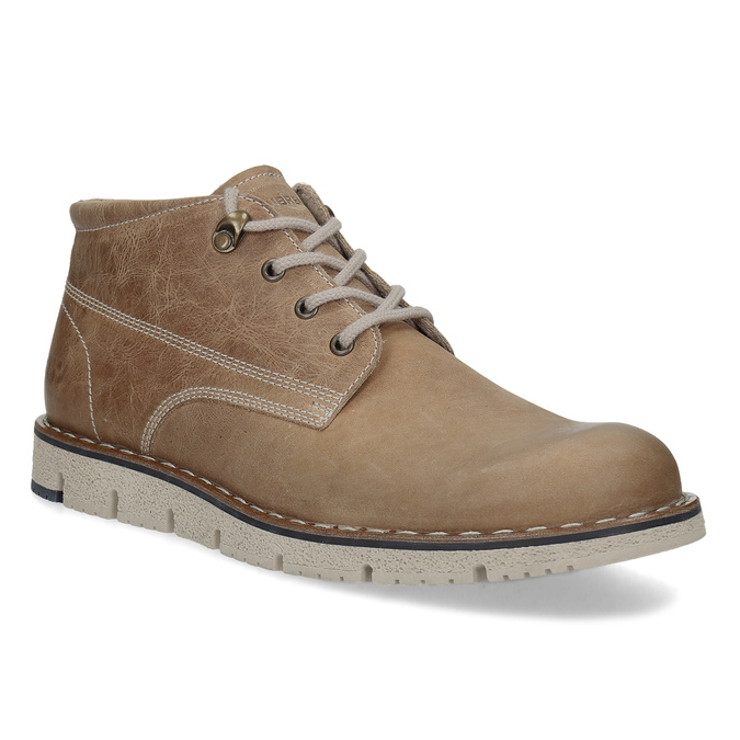 Hnědá pánská kožená kotníčková obuv weinbrenner, hnědá, 846-4658 - 13