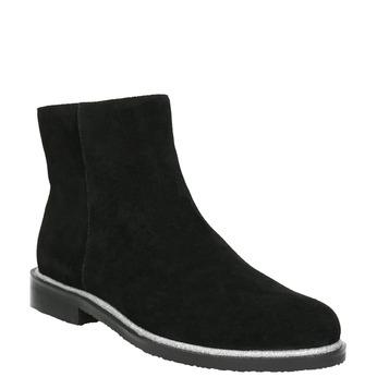 Kožená kotníčková obuv se stříbrným lemem bata, černá, 593-6603 - 13
