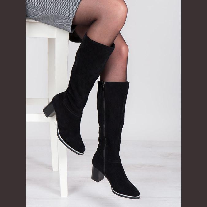 Černé kozačky z broušené kůže bata, černá, 693-6603 - 18