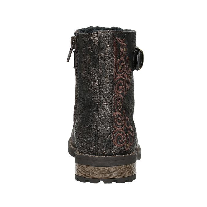 Dětská zimní obuv s výšivkou mini-b, hnědá, 391-8654 - 17