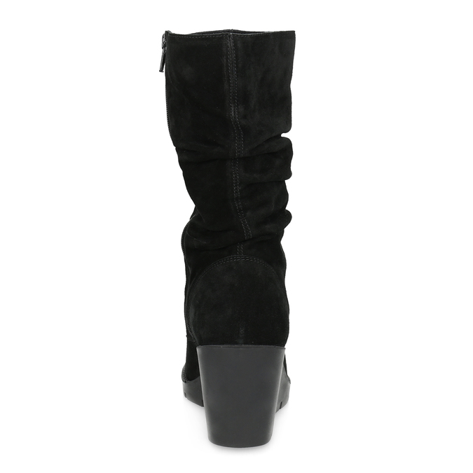 Kožené dámské kozačky na klínku bata, černá, 796-6646 - 15