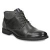 Kožená kotníčková obuv se strukturou bata, šedá, 826-2616 - 13