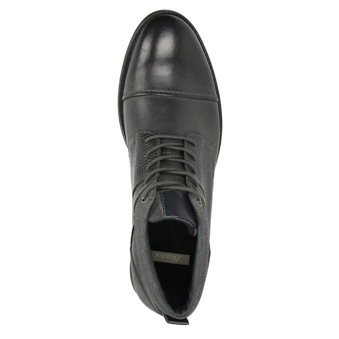 Kožená kotníčková obuv se strukturou bata, šedá, 826-2616 - 26