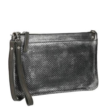 Kožené dámské psaníčko se strukturou bata, stříbrná, 964-1141 - 13