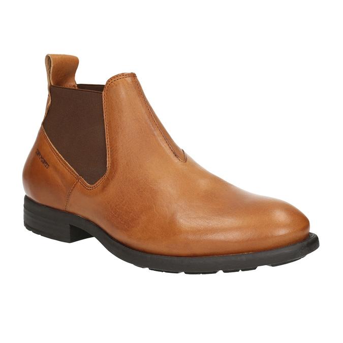 Kožená kotníčková obuv s pružnými boky ten-points, hnědá, 816-3036 - 13