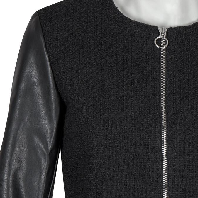 Dámský kabát s koženkovými rukávy bata, černá, 979-6153 - 16