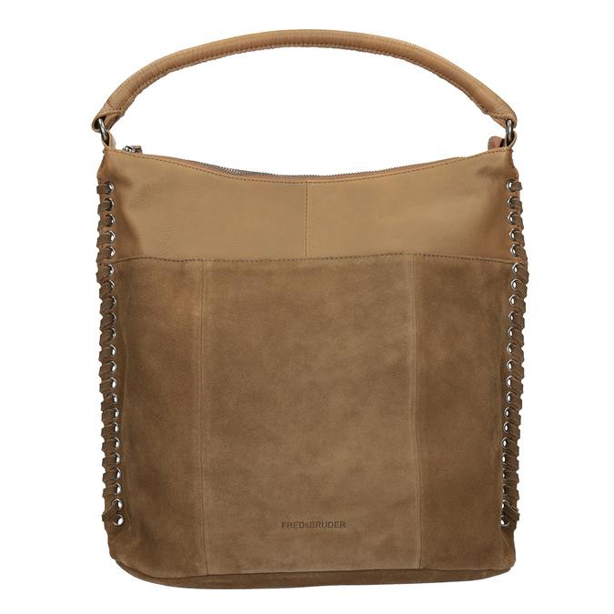 Kožená kabelka s propletením fredsbruder, hnědá, 963-3005 - 26