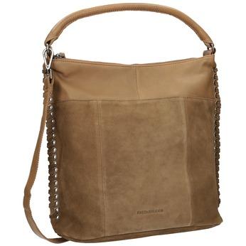 Kožená kabelka s propletením fredsbruder, hnědá, 963-3005 - 13