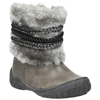 Dětská zimní obuv s kožíškem bubblegummers, šedá, 191-2620 - 13