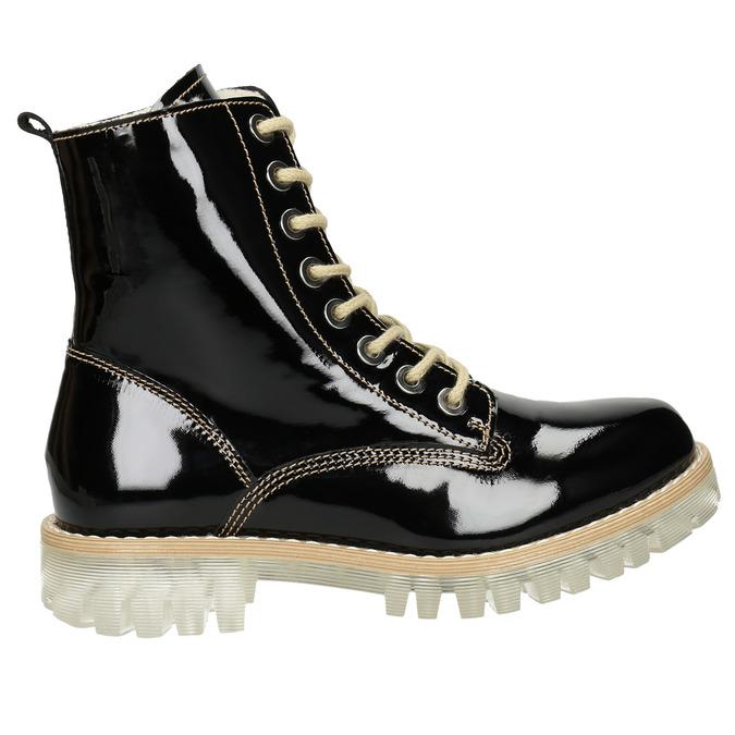 Lakovaná kotníčková obuv s masivní podešví weinbrenner, černá, 598-6604 - 26