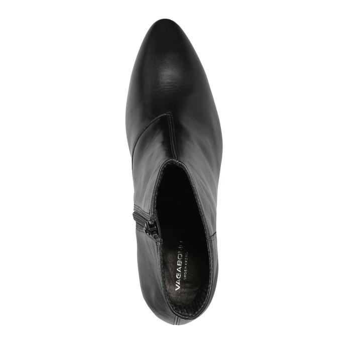 Kožené kozačky na stabilním podpatku vagabond, černá, 716-6038 - 15