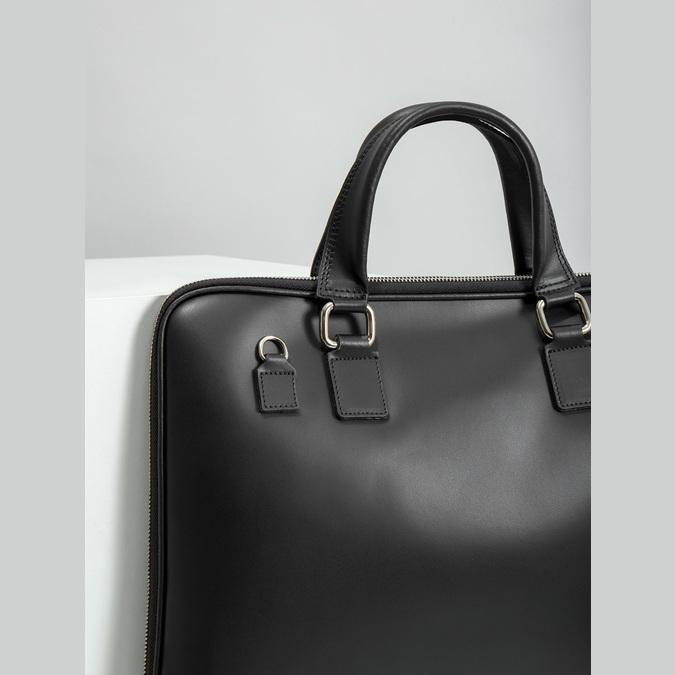 Kožená taška s odnímatelným popruhem bata, černá, 964-6223 - 14