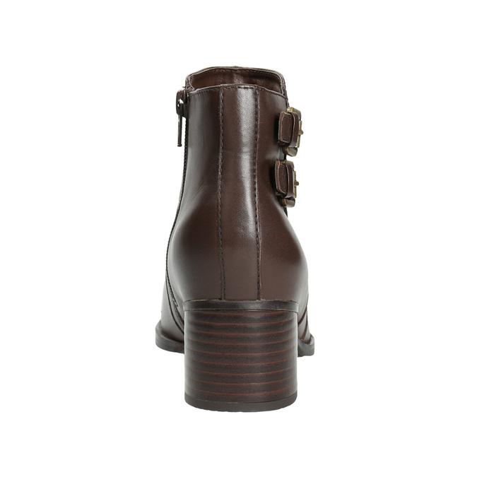 Kožené kotníčkové kozačky s přezkami bata, hnědá, 696-4650 - 16