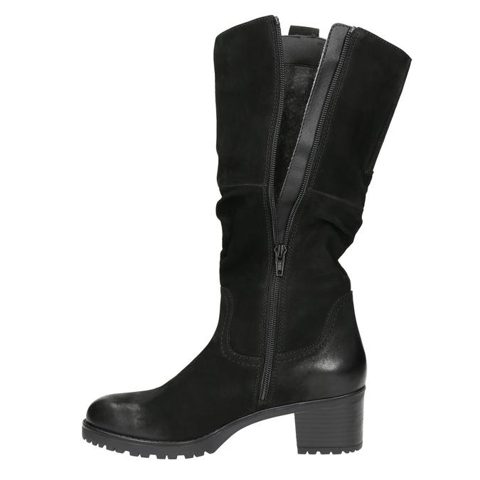 Kožené dámské kozačky bata, černá, 696-6649 - 26