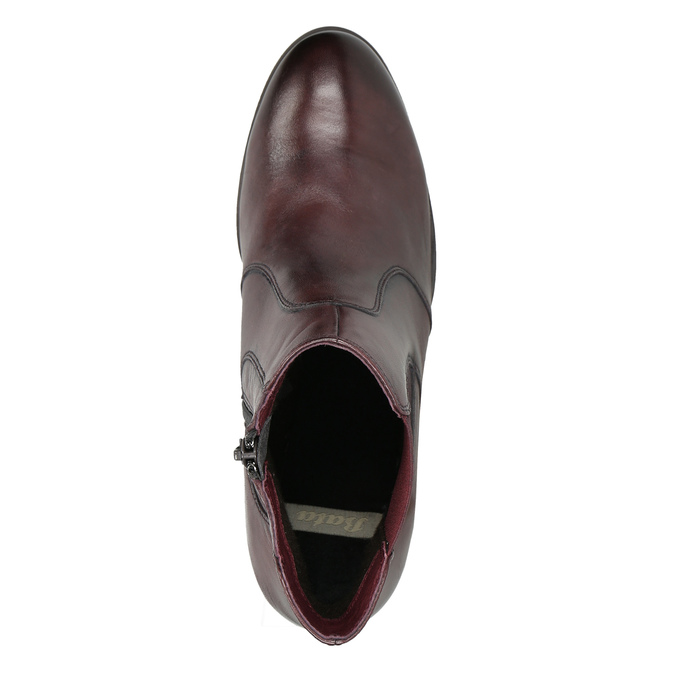Kožené kotníčkové boty na podpatku bata, červená, 796-5647 - 26
