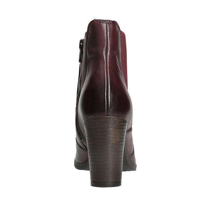 Kožené kotníčkové boty na podpatku bata, červená, 796-5647 - 15
