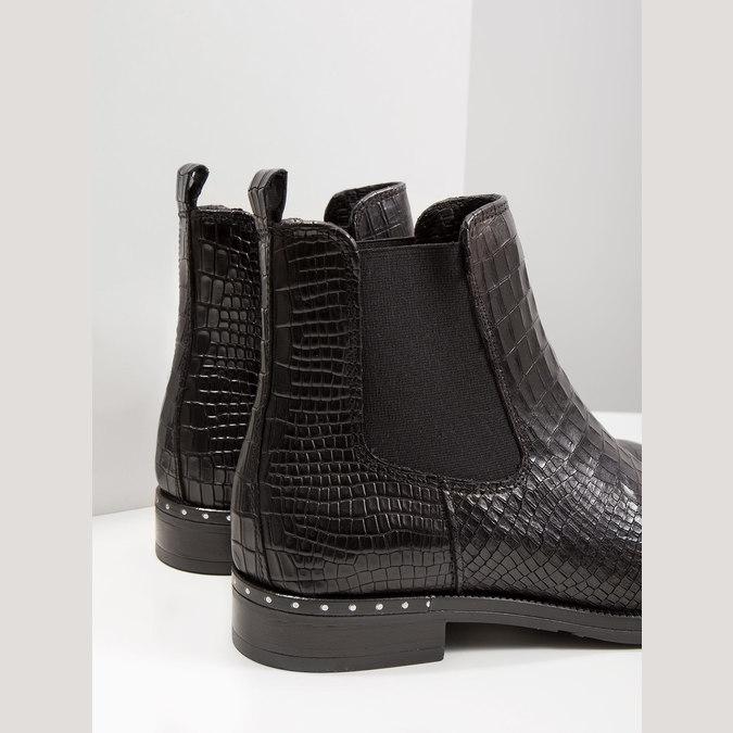 Kožená dámská Chelsea obuv se strukturou bata, černá, 596-6678 - 14