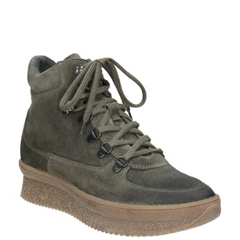 Dámská kožená obuv na flatformě bata, šedá, 596-2673 - 13