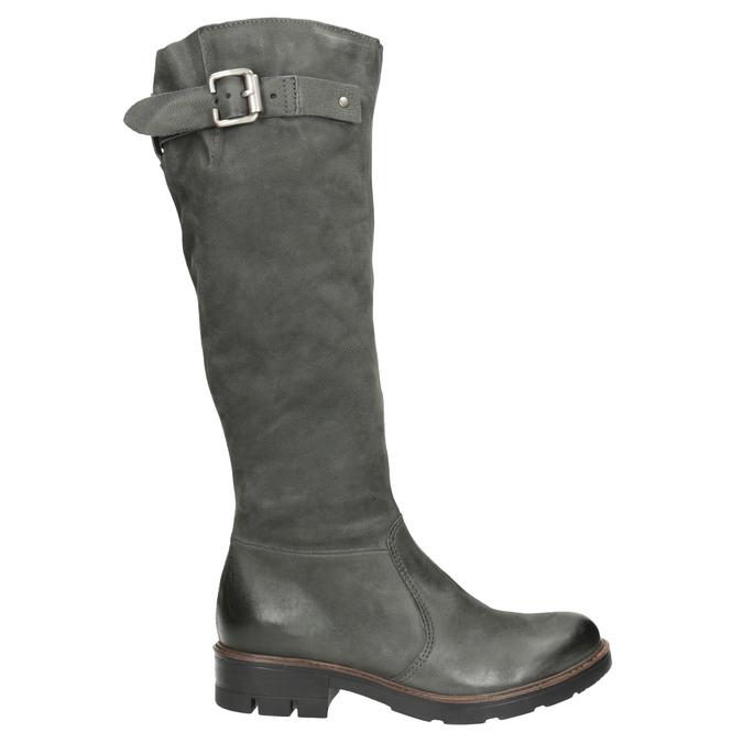 Kožené kozačky s masivní podešví bata, šedá, 596-9662 - 26