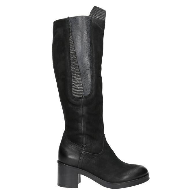 Kožené kozačky na stabilním podpatku bata, černá, 696-6647 - 26