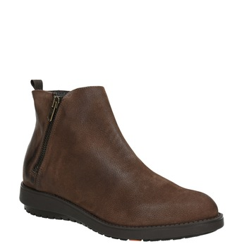 Kožená kotníčková obuv se zipem flexible, hnědá, 594-4227 - 13