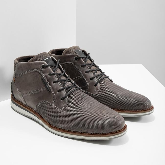 Kožená kotníčková obuv šedá bata, šedá, 826-2912 - 18