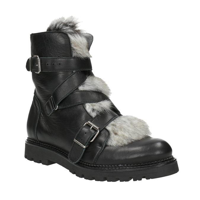 Kožená kotníčková obuv s kožíškem bata, černá, 594-6656 - 13