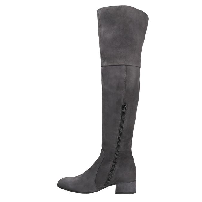Kožené dámské kozačky nad kolena bata, šedá, 693-2604 - 15
