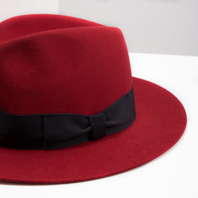 Červený klobouk z králičí srsti tonak, červená, 909-5649 - 14