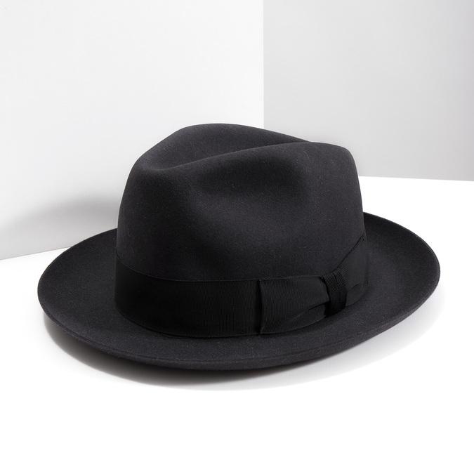 Černý pánský klobouk tonak, šedá, 909-2646 - 18