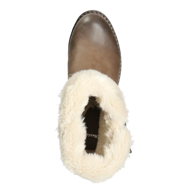 Kotníčková obuv s kožíškem bata, hnědá, 691-2633 - 26