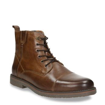 Kožená kotníčková obuv se zateplením bata, hnědá, 896-4662 - 13