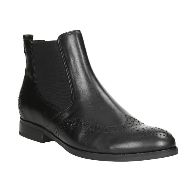 Kožené Chelsea Boots s Brogue zdobením gabor, černá, 514-6034 - 13