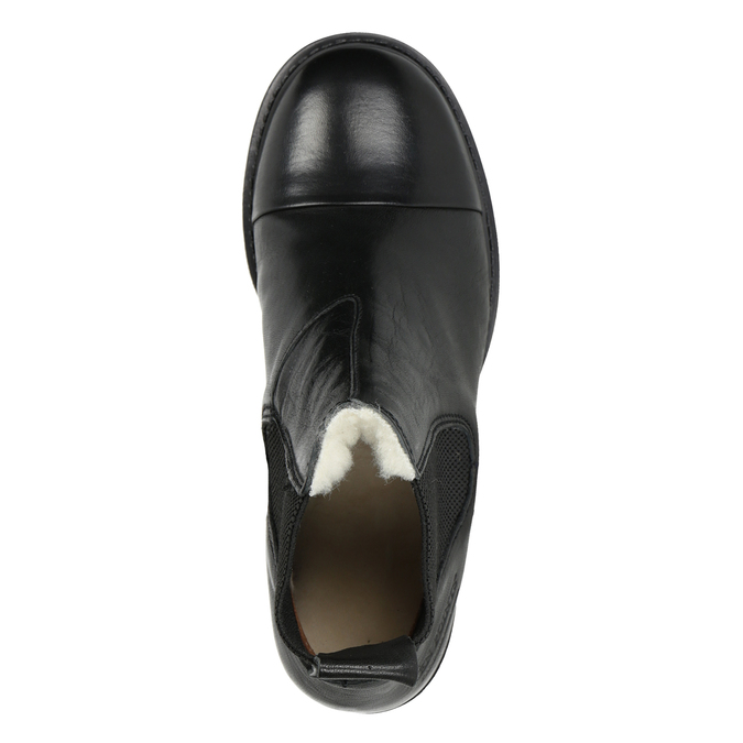 Kožená kotníčková obuv s pružnými boky ten-points, černá, 516-6091 - 15