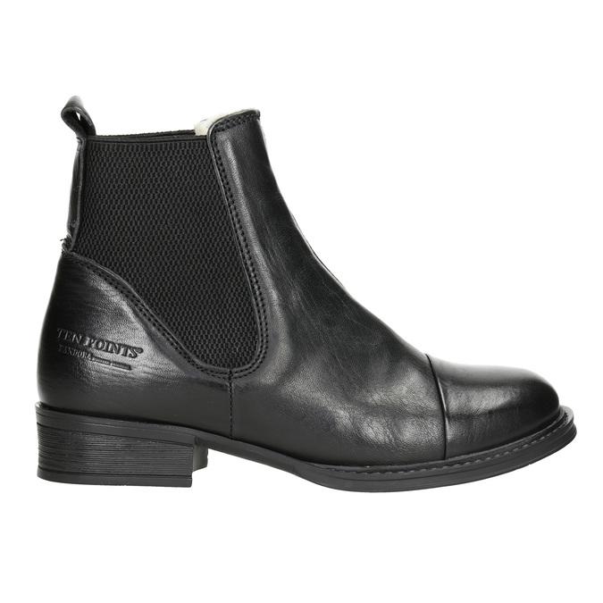 Kožená kotníčková obuv s pružnými boky ten-points, černá, 516-6091 - 26