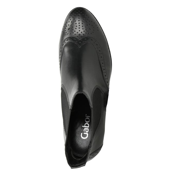 Kožené Chelsea Boots s Brogue zdobením gabor, černá, 514-6034 - 15