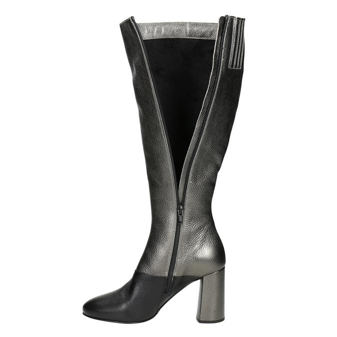 Kožené dámské kozačky classico-and-bellezza, stříbrná, 796-8027 - 15
