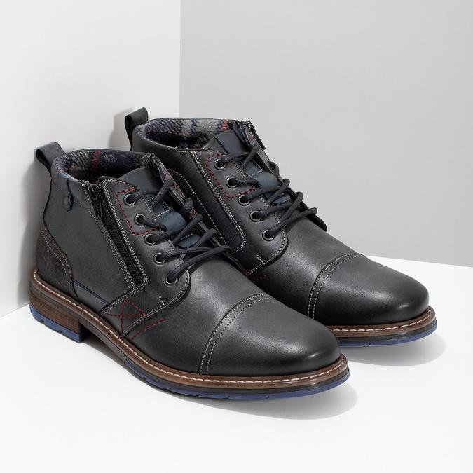 Pánská kožená kotníčková obuv se zipem bata, šedá, 896-2678 - 26