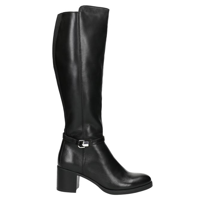 Kožené dámské kozačky na stabilním podpatku bata, černá, 694-6637 - 15
