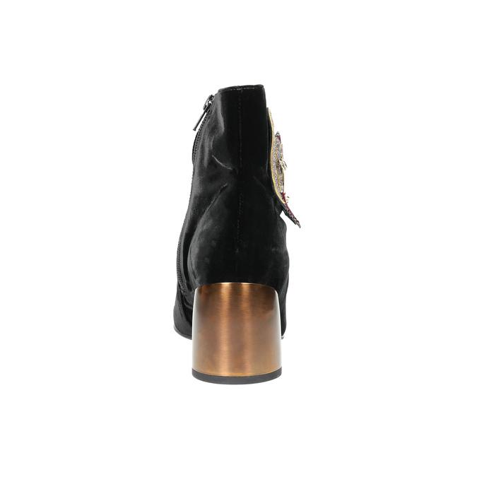 Kotníčkové kozačky se zlatým podpatkem hogl, černá, 719-6061 - 17