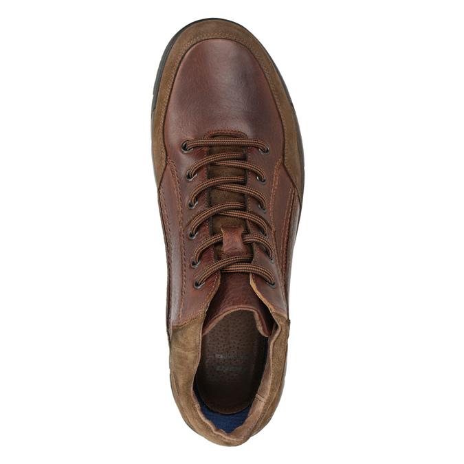Kožená kotníčková obuv pánská bata, hnědá, 896-3705 - 15