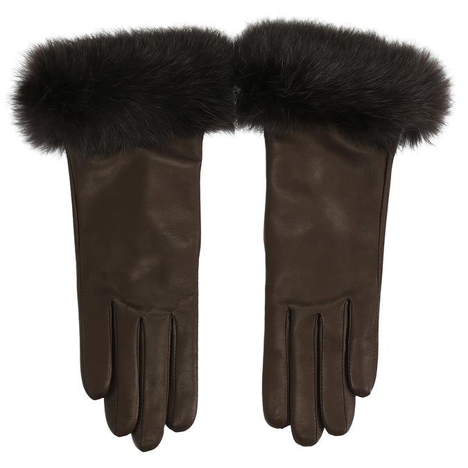 Dámské kožené rukavice s kožíškem junek, hnědá, 924-4050 - 26
