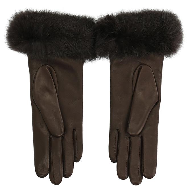 Dámské kožené rukavice s kožíškem junek, hnědá, 924-4050 - 16