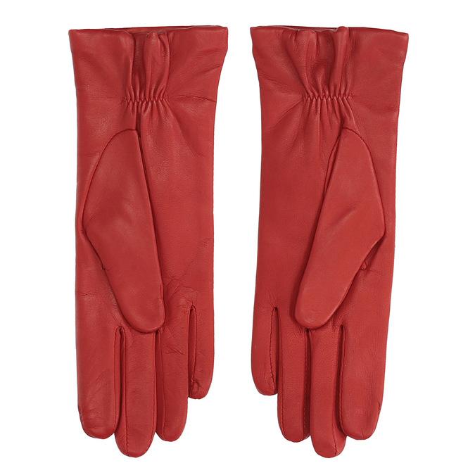 Dámské kožené rukavice fialové junek, červená, 924-5040 - 16