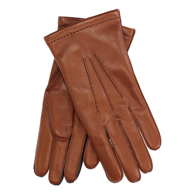 Pánské kožené rukavice hnědé junek, hnědá, 924-3031 - 13