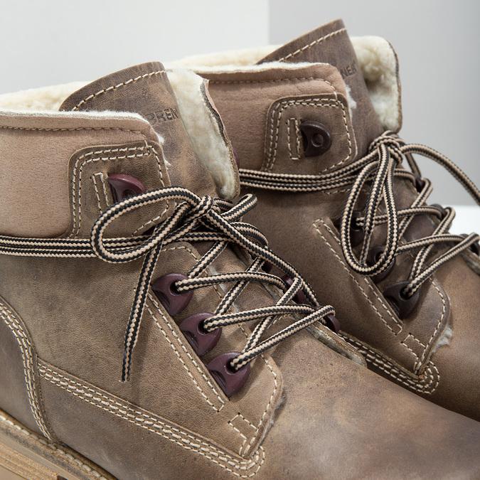 Kožená zimní obuv s kožíškem weinbrenner, hnědá, 594-2491 - 14